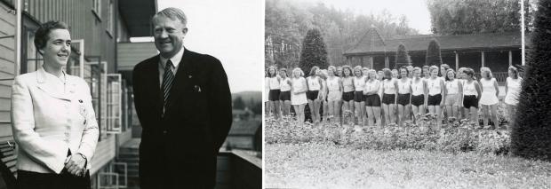 Vidkun Quisling sammen med, Rikstalskvinne for BDM, Dr. Jutta Rüdiger i forbindelse med den første tysk-norske jenteleir i Lillehammer 28.6 - 12.7, 1941.