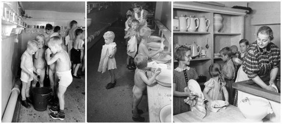 Berlinerne vært foutseende nok til å få bygd egne avdelinger nede i bomberommene tilpasset barns behov.