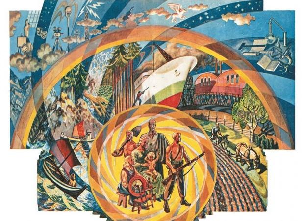 """Damsleths monumentalmaleri """"Det nye Norge"""" dekker en hel vegg på utstillingen som åpner den 25 september i år under Nasjonalgalleriet Norges Nyreisning som vil holdes fra 25. september til til 25 oktober under det 8 riksmøtet i Oslo."""