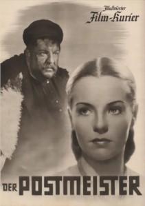 """Rennesansemennesket Heinrich George sammen med skuespillerinnen Hilde Krahl i filmen """"postmesteren"""" som vant prisen som beste film ved den 8. filmfestivalen i Venezia, 1940"""