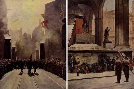 München 9. november 1936: Julius Streicher leder æresmarsjen mot martyrplassen ved feldherrnhalle. Til høyre presenteres Blodfanen av Jakob Grimminger ved minnesmerket over de falne. Her fremstillt kunstneren Paul Hermann.«Und Ihr habt doch gesiegt!»