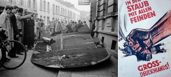 Forbipasserende betrakter en vinge fra et nedskutt engelsk bombefly i Dreilindenstraße i byen Essen som ligger helt vest i Tyskland, 1942. Plakten til høyre: «I støvet med alle fiender av Tyskland!»