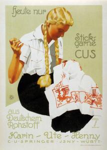 En plakat utført av Ludwig Hohlwein som reklamerer for bruk av tysk garn.
