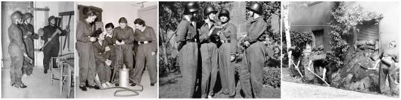 Slike kvinner fra Reichsfrauenführung er ikke et uvanlig syn i Tysklands mange byer. Her ser vi et par bilder som er tatt under en av de mange luftforsvarsøvelser som ble avholdt i Berlin i 1939.