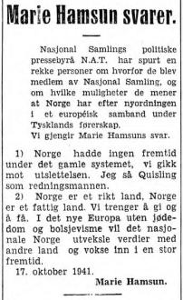 marie hamsun adresseavisen 29 oktober-1941
