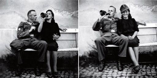 En tysk soldat hviler velfortjent ut heime fra fronten med en varm pike under den ene armen og en kald bayer i hånda.