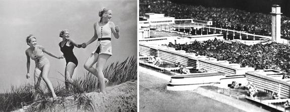 Til høyre er en modell av «Seebad Prora» som er under oppførelse på  øya Rügen i Østersjøen. Ikke rart av folket elsker sin Fører.