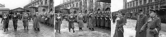 Quislings ble mottatt av et æreskompani fra Waffen-SS ved sin ankomst ved Stettiner jernbanestasjon i Berlin den 12 februar 1942.