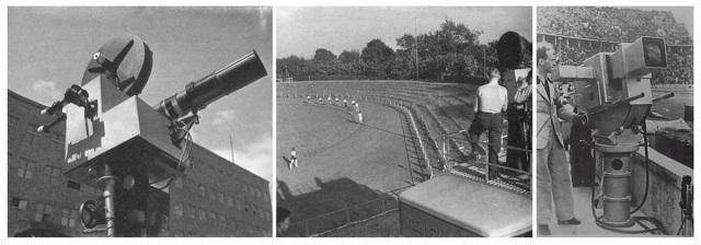 Her ser vi et fjernsynskamera for direktesendinger montert på taket av en fjernsynsbil og til høyere et stasjonert fjernsynskamera som ble benyttet under Olympiaden i Berlin i 1936.
