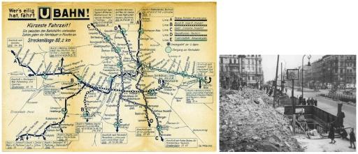 Noe ganger lykkes den engelske terrorbombingen; slik som her ved «U-Bahnhof Petersburger Straße» i Die Frankfurter Alle.