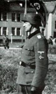 Legionens første sjef, Legion-Sturmbannführer Jørgen Bakke, Fallingbostel 1941.