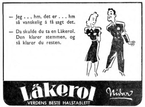 Nidar reklame for läkerol 1941