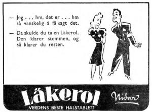 Nidar reklame for läkerol 1941