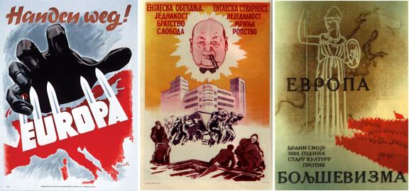 Her sees en tysk og to russiske plakater som gir oss en kort oppsummering av Churchills totale utryddelseskrig mot vår europeiske sivilisasjon og kultur samt hvilken utsikter våre etterkommere kan belage seg på om finansmafiaen skulle vinne.