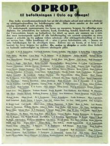 Ifølge eksil-regjeringen i London er alle nordmenn som skrev under på dette freds-oppropet landsforrædere.