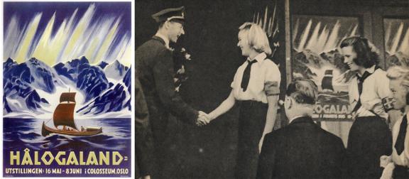 Lunde hilser på representanter fra hirden ved åpningen av Hålogaland-utstillingen sommeren 1941.