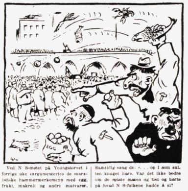 Karikatur fra Nasjonal Samling, nr. 28, 1934