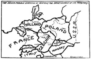Planene for den totale tilintetgjørelsen av Tyskland tegnet inn på kartet.