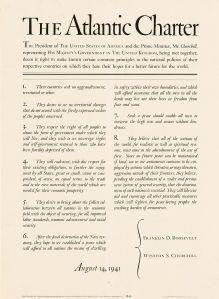 """Punkt 6: Etter den totale utryddelse av """"nazi-tyranniet"""" i Europa håper England og Amerika å gi alle små nasjoner garanti for sin selvstendighet, frihet og sikkerhet."""