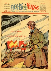 Spanjolene har lært bolsjevismens herjinger å kjenne og utgjør derfor en egen divisjon av frivillige frihetskjempere, División Azul.