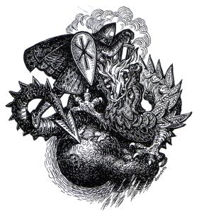 Ragnarok: Det gøyser eitr og gneistar sprutar or munnen på Midgardsormen. - - - Sol mun svartne, sig jord i hav, av himlen kverv klåre stjernur. - - - Odins sonen vil ormen vega. Han legg til med makt Midgards verjar. - - - Ser ho upp koma adnre gongen jord or havet atter grønkledd. Voluspá