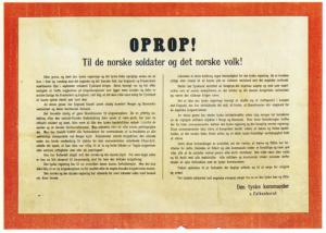 Flyveblad våren 1940, fra det tyske militæres øverste leder i Norge Nikolaus von Falkenhorst, om bakgrunnen for de tyske vernetroppers motoffensiv mot det nært forestående engelske overfall på Norge.